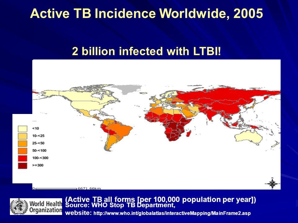 TB Case Rates,* United States, 2006 < 3.5 (year 2000 target) 3.6–4.6 > 4.6 (national average) D.C.