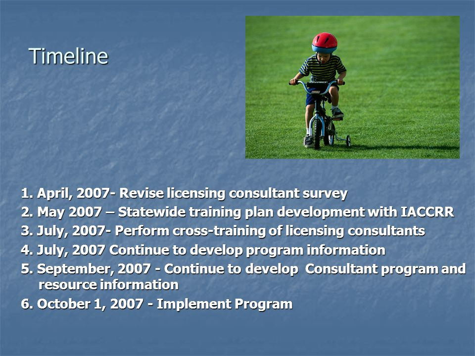 Timeline 1. April, 2007- Revise licensing consultant survey 2. May 2007 – Statewide training plan development with IACCRR 3. July, 2007- Perform cross