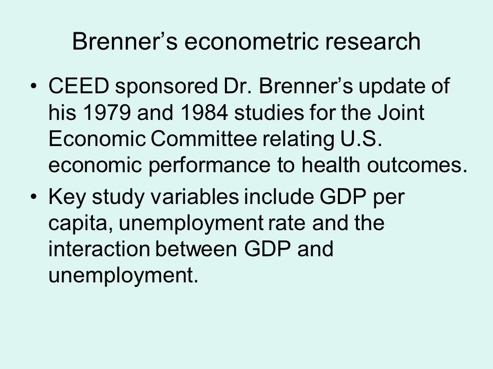 Brenners econometric research CEED sponsored Dr.