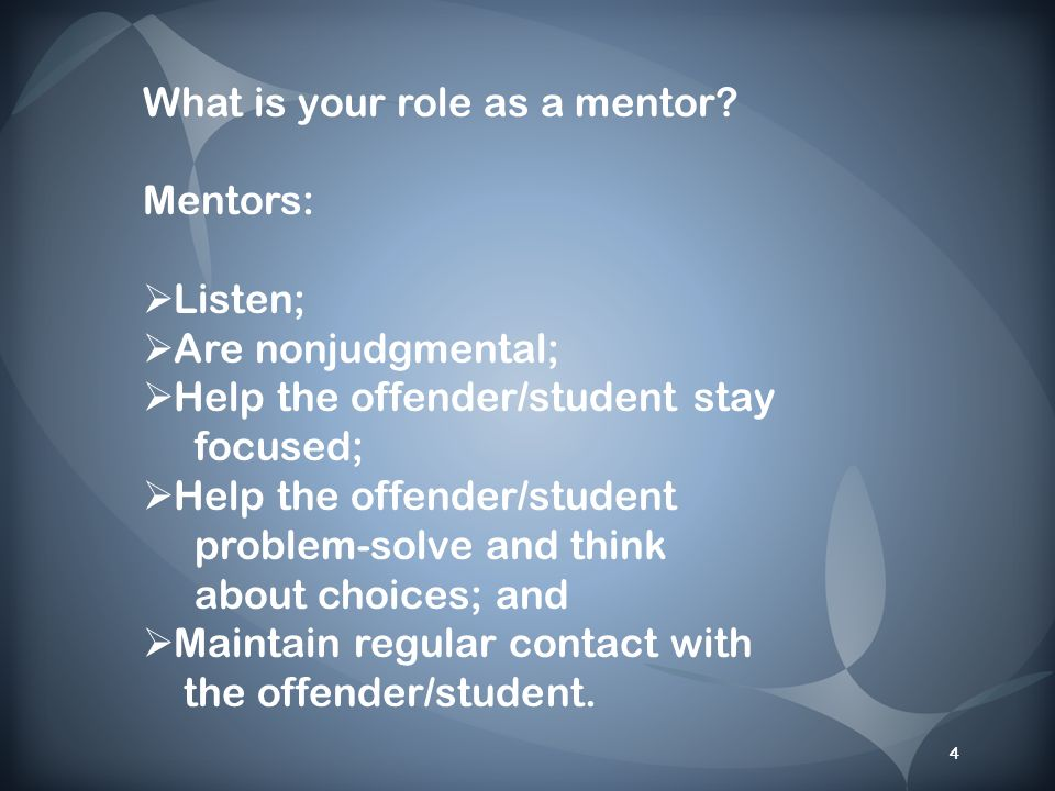 4 What is your role as a mentor.