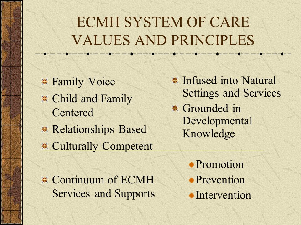 ECMH SYSTEM OF CARE VALUES AND PRINCIPLES Family Voice Child and Family Centered Relationships Based Culturally Competent Continuum of ECMH Services a