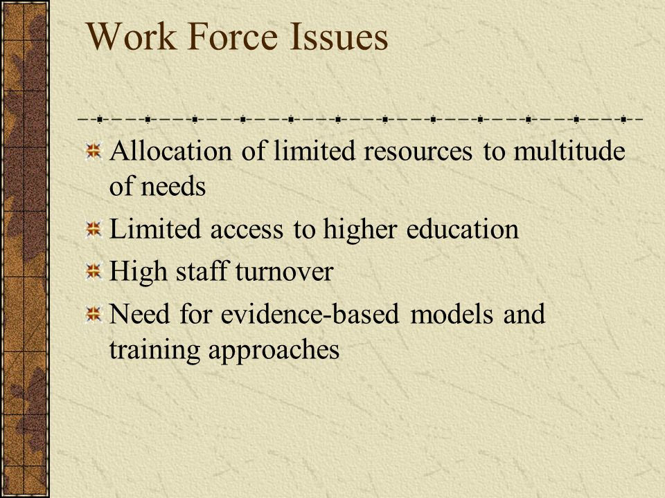 Work Force Issues Allocation of limited resources to multitude of needs Limited access to higher education High staff turnover Need for evidence-based