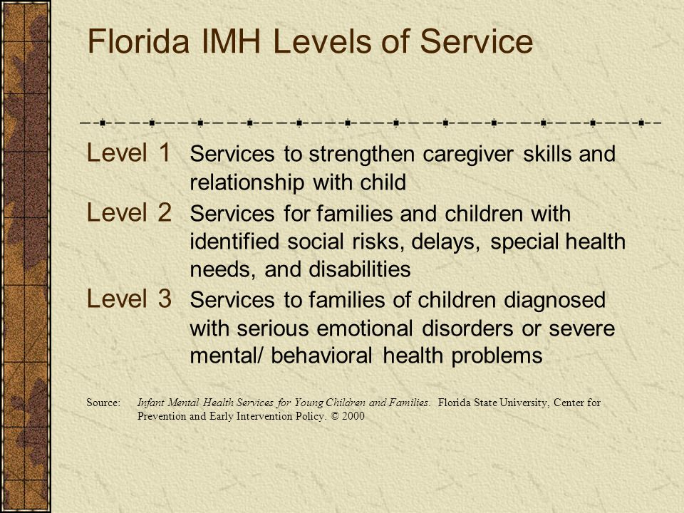 Florida IMH Levels of Service Level 1 Services to strengthen caregiver skills and relationship with child Level 2 Services for families and children w