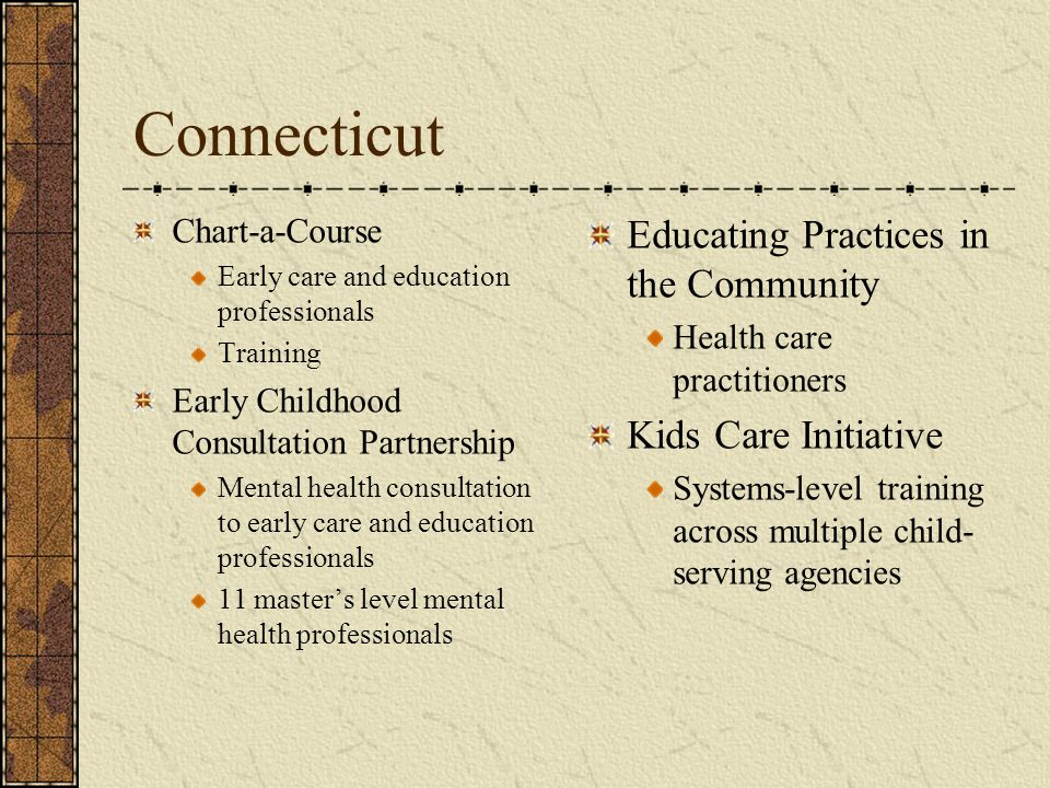 Connecticut Chart-a-Course Early care and education professionals Training Early Childhood Consultation Partnership Mental health consultation to earl