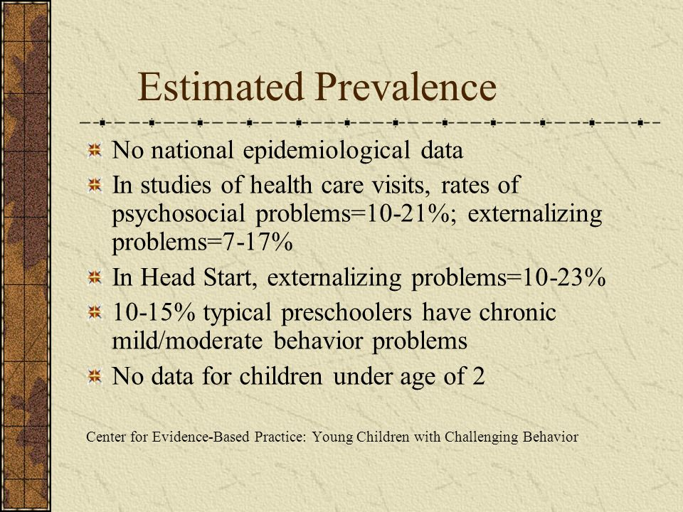 Estimated Prevalence No national epidemiological data In studies of health care visits, rates of psychosocial problems=10-21%; externalizing problems=