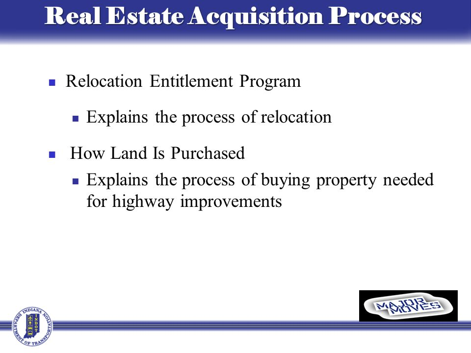 Relocation Entitlement Program Explains the process of relocation How Land Is Purchased Explains the process of buying property needed for highway improvements