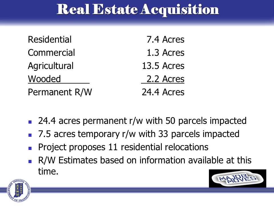 Real Estate Acquisition Real Estate Acquisition Residential 7.4 Acres Commercial 1.3 Acres Agricultural 13.5 Acres Wooded 2.2 Acres Permanent R/W 24.4 Acres 24.4 acres permanent r/w with 50 parcels impacted 7.5 acres temporary r/w with 33 parcels impacted Project proposes 11 residential relocations R/W Estimates based on information available at this time.