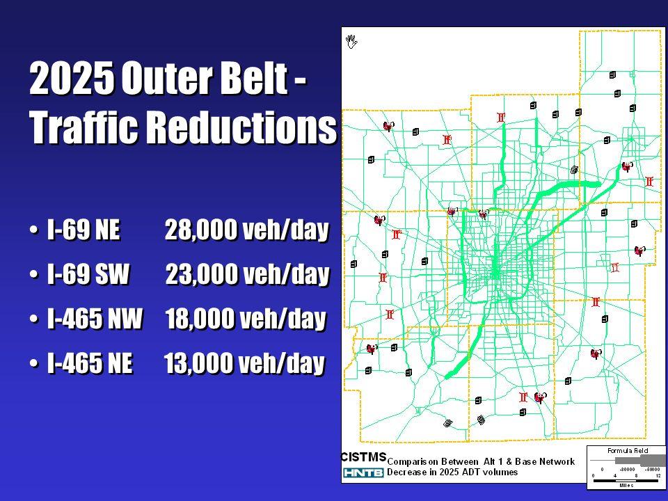 2025 Outer Belt - Traffic Reductions I-69 NE 28,000 veh/day I-69 SW 23,000 veh/day I-465 NW 18,000 veh/day I-465 NE 13,000 veh/day 2025 Outer Belt - T