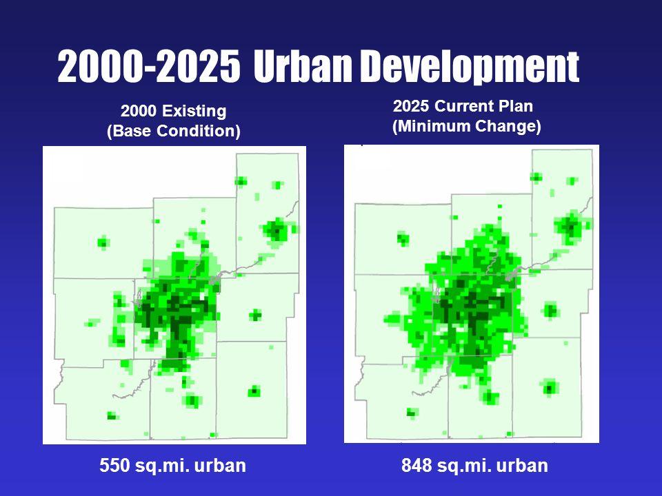 2000-2025 Urban Development 2000 Existing (Base Condition) 2025 Current Plan (Minimum Change) 550 sq.mi. urban848 sq.mi. urban