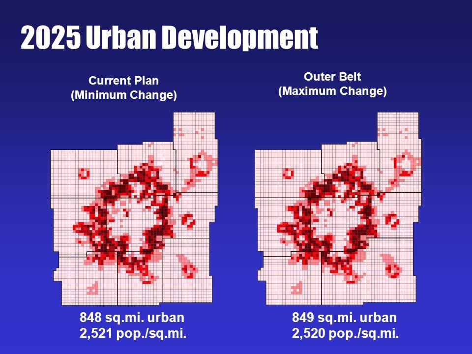 2025 Urban Development Current Plan (Minimum Change) Outer Belt (Maximum Change) 848 sq.mi. urban 2,521 pop./sq.mi. 849 sq.mi. urban 2,520 pop./sq.mi.