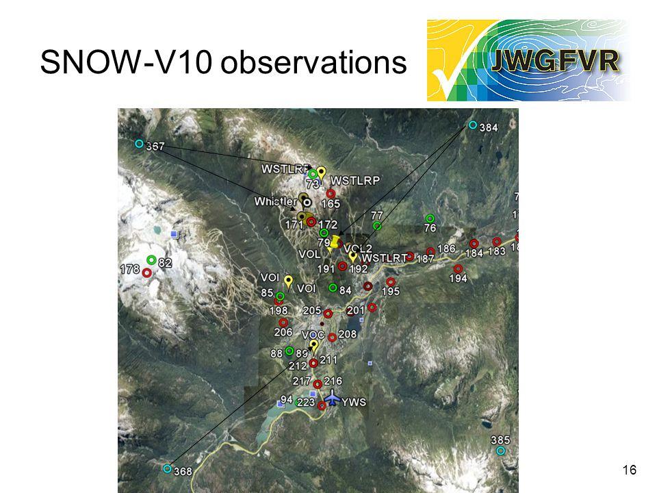 16 SNOW-V10 observations