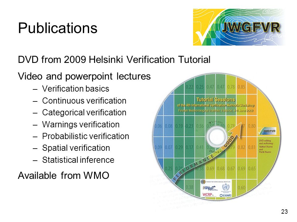 23 Publications DVD from 2009 Helsinki Verification Tutorial Video and powerpoint lectures –Verification basics –Continuous verification –Categorical verification –Warnings verification –Probabilistic verification –Spatial verification –Statistical inference Available from WMO