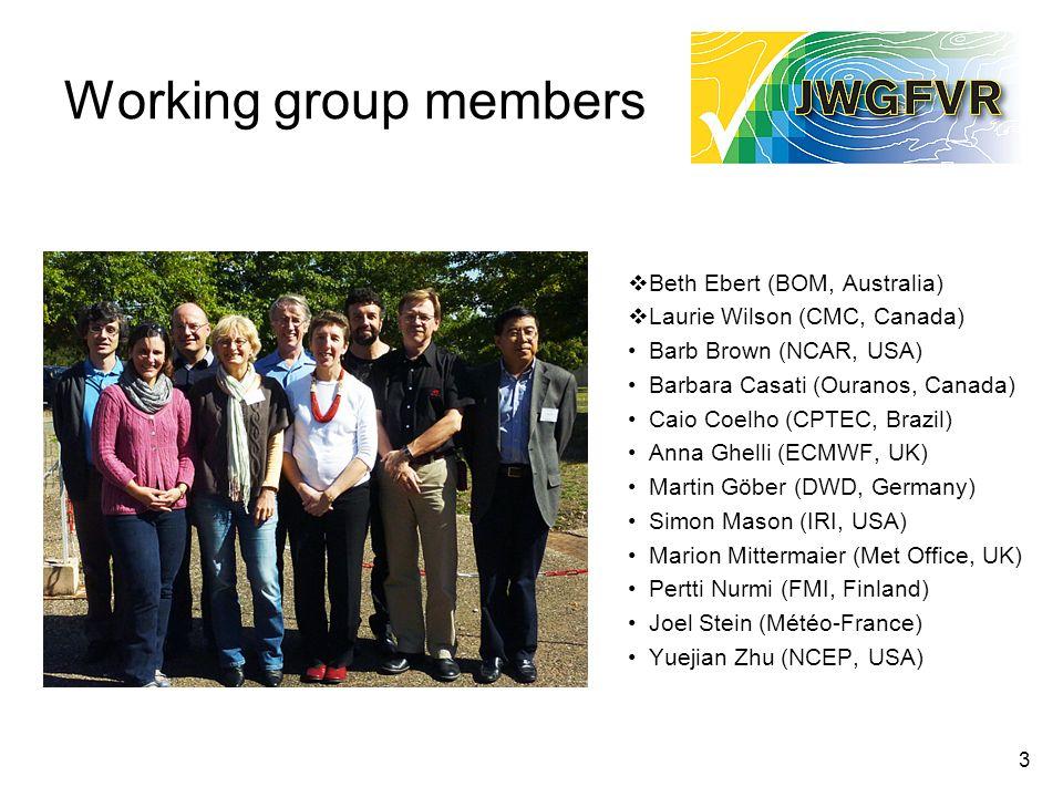 3 Working group members Beth Ebert (BOM, Australia) Laurie Wilson (CMC, Canada) Barb Brown (NCAR, USA) Barbara Casati (Ouranos, Canada) Caio Coelho (C