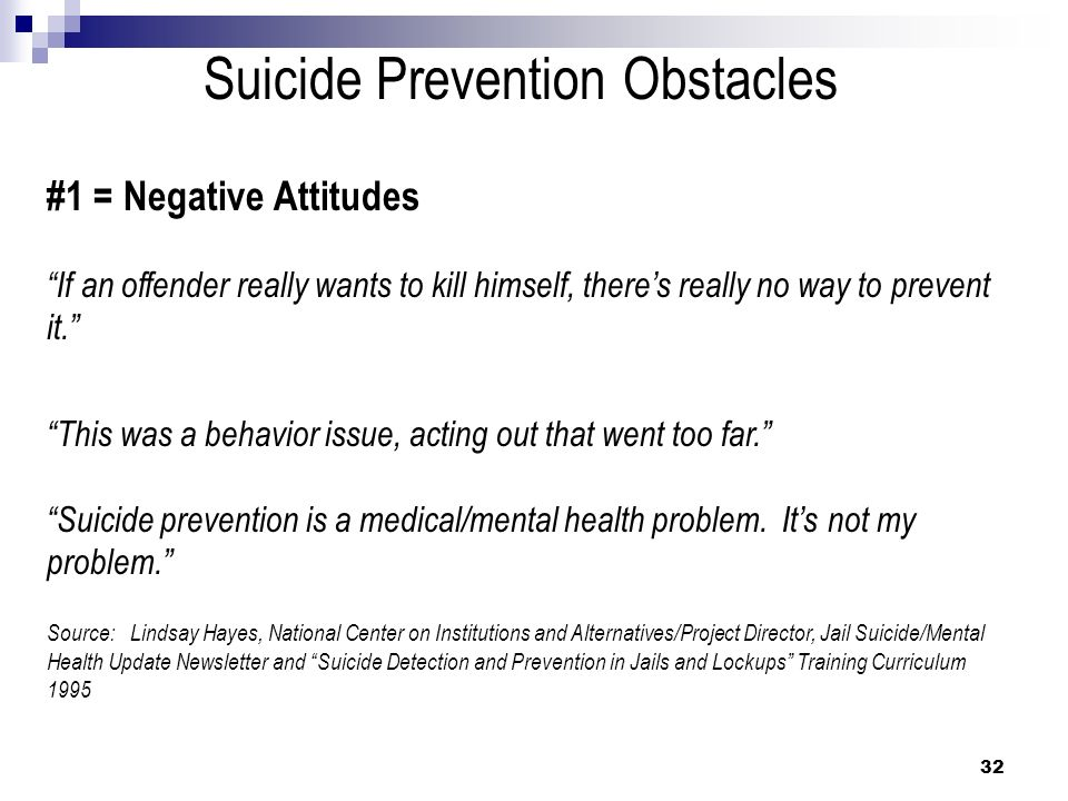 Suicide Prevention Obstacles #1 = Negative Attitudes If an offender really wants to kill himself, theres really no way to prevent it. This was a behav