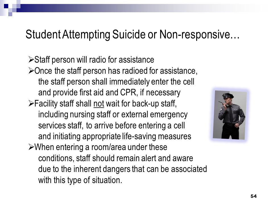 54 Student Attempting Suicide or Non-responsive… Staff person will radio for assistance Once the staff person has radioed for assistance, the staff pe
