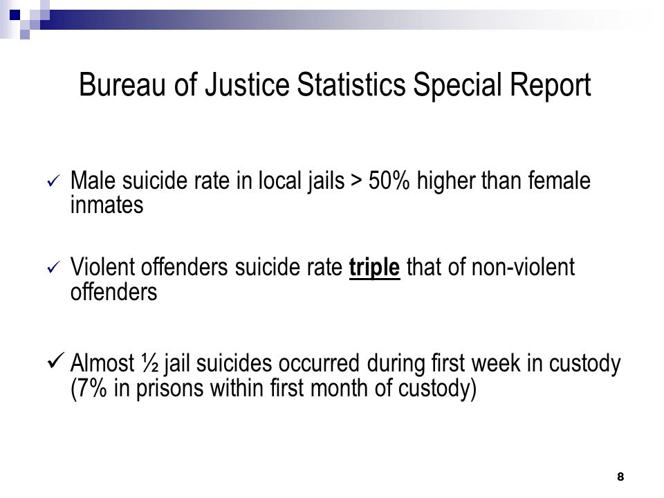 Corrections Environment Risk Factors (continued) Factors Increasing Suicide Risk: Shame of incarceration Dehumanizing aspects of confinement Fears due to media and self-imposed stereotypes Staff insensitivity to inmates situation – especially for first- time arrestee 19