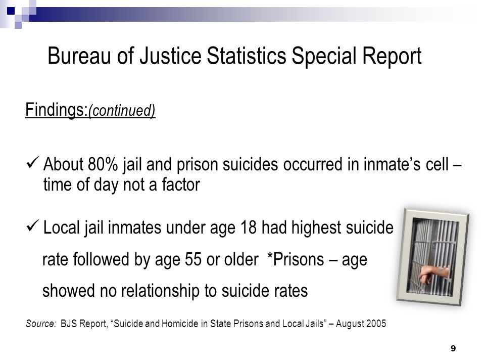Juvenile Suicide Study Correct Care, Fall 2004 by Lindsay Hayes First National Survey on Juvenile Suicide In Confinement Study analyzed 79 out of 110 Juvenile suicides occurring between 1995-1999 Confinement settings = Juvenile Detention Centers, Reception Centers, Training Schools, Ranches, Camps, and Farms 10