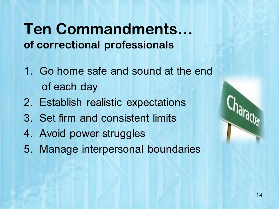 Ten Commandments… of correctional professionals 1.Go home safe and sound at the end of each day 2.Establish realistic expectations 3.Set firm and consistent limits 4.Avoid power struggles 5.Manage interpersonal boundaries 14