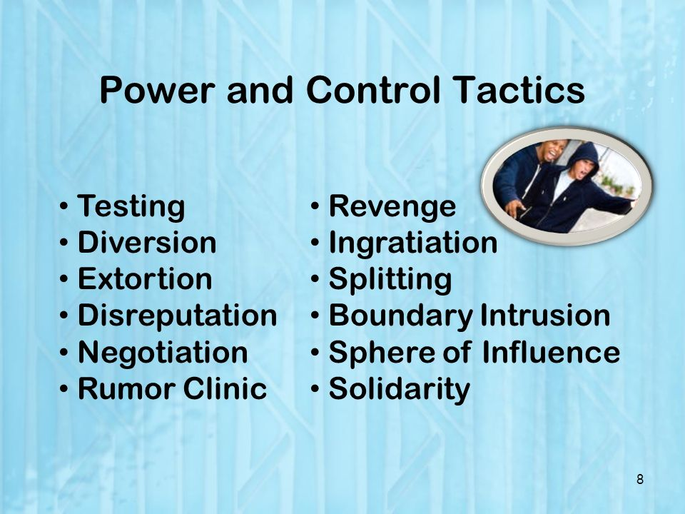 Power and Control Tactics 8 Testing Diversion Extortion Disreputation Negotiation Rumor Clinic Revenge Ingratiation Splitting Boundary Intrusion Sphere of Influence Solidarity