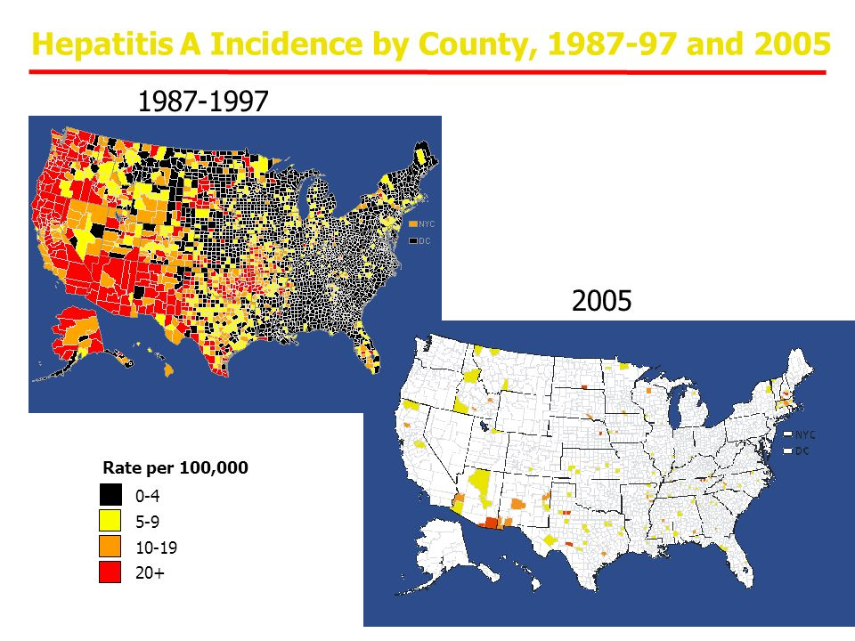 Hepatitis A Incidence by County, 1987-97 and 2005 Rate per 100,000 0-4 5-9 10-19 20+ 1987-1997 2005