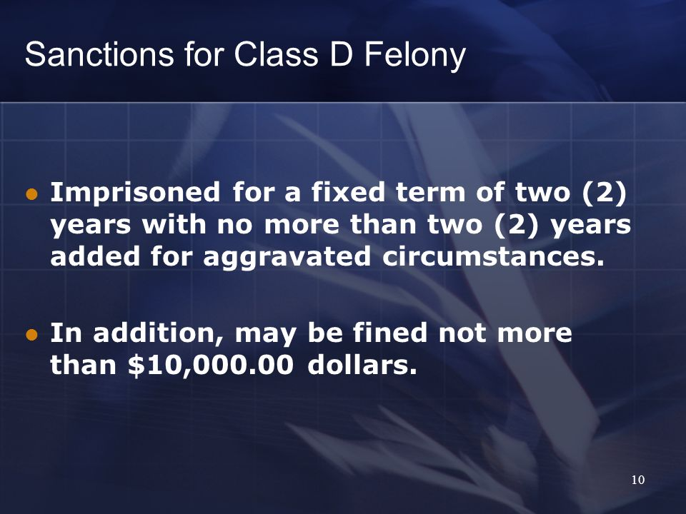 Sanctions for Class A Misdemeanor Imprisoned for a fixed term of not more than (1) year and May be fined not more than ($5,000.00) dollars 9