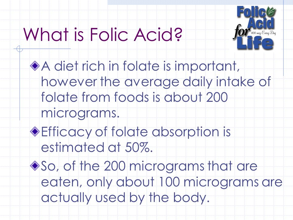 What is Folic Acid.Folic acid is the synthetic (simple) form of folate.