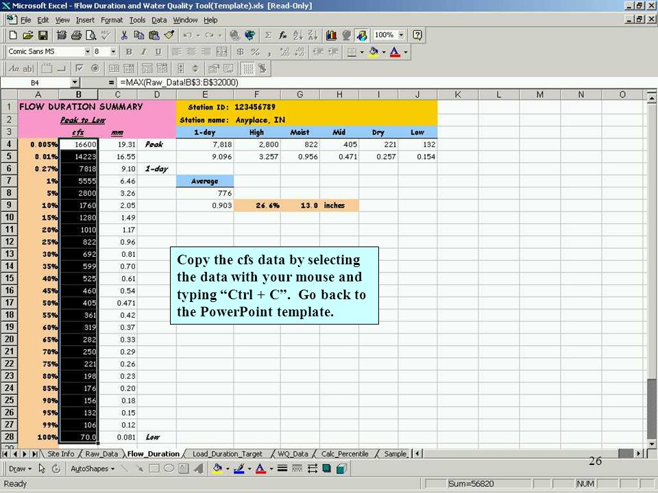 26 Copy the cfs data by selecting the data with your mouse and typing Ctrl + C.