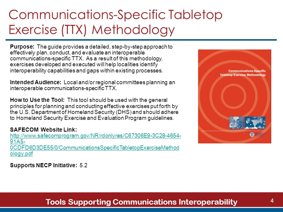Tools Supporting Communications Interoperability 4 Communications-Specific Tabletop Exercise (TTX) Methodology Purpose: The guide provides a detailed, step-by-step approach to effectively plan, conduct, and evaluate an interoperable communications-specific TTX.
