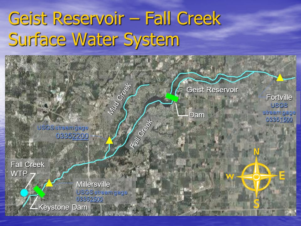 Geist Reservoir – Fall Creek Surface Water System Geist Reservoir Dam Keystone Dam Fall Creek WTP Fall Creek Mud Creek FortvilleUSGS stream gage 03351500 USGS stream gage 03352200 Millersville USGS stream gage 03352500