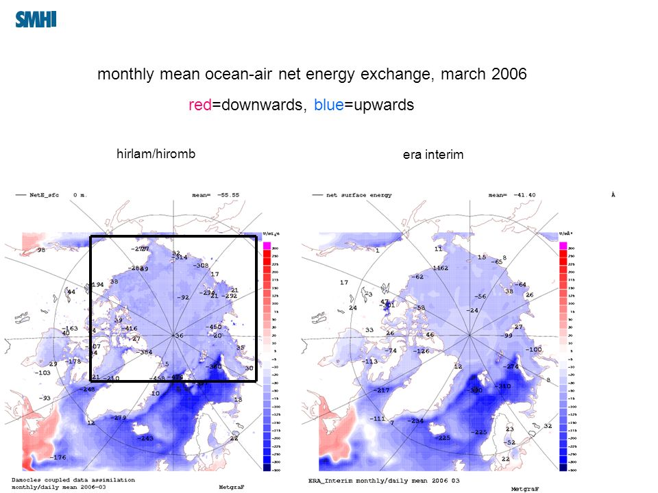 09/03/10 Signatur monthly mean ocean-air net energy exchange, march 2006 hirlam/hiromb era interim red=downwards, blue=upwards