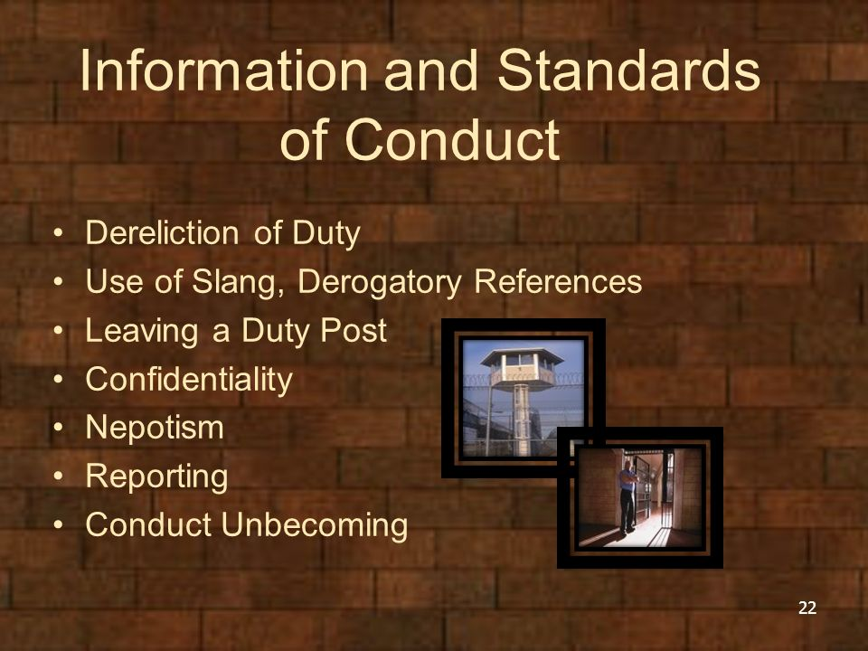 Information and Standards of Conduct Dereliction of Duty Use of Slang, Derogatory References Leaving a Duty Post Confidentiality Nepotism Reporting Conduct Unbecoming 22