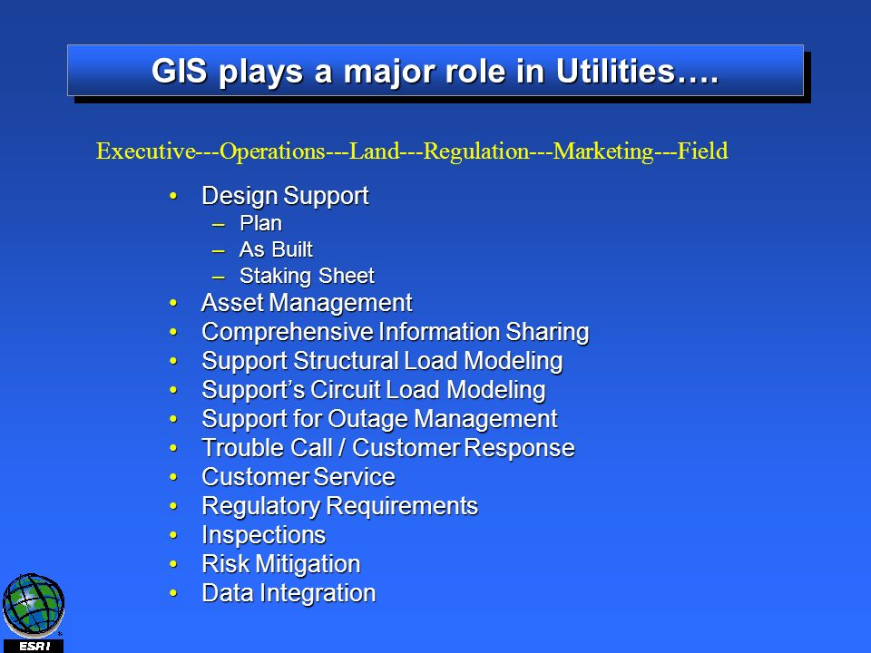 GIS plays a major role in Utilities….