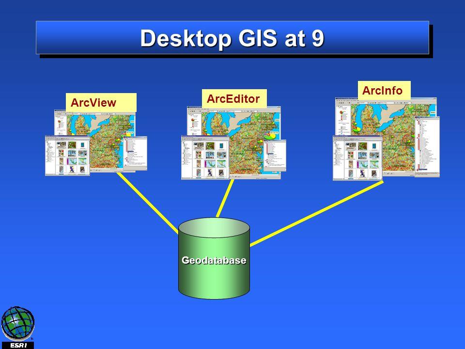 Desktop GIS at 9 Geodatabase ArcView ArcEditor ArcInfo