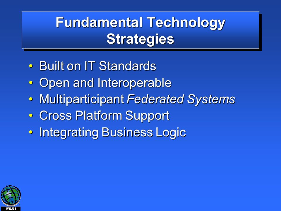 Fundamental Technology Strategies Built on IT StandardsBuilt on IT Standards Open and InteroperableOpen and Interoperable Multiparticipant Federated SystemsMultiparticipant Federated Systems Cross Platform SupportCross Platform Support Integrating Business LogicIntegrating Business Logic