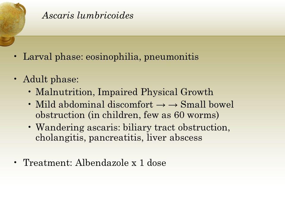 Ascaris lumbricoides Larval phase: eosinophilia, pneumonitis Adult phase: Malnutrition, Impaired Physical Growth Mild abdominal discomfort Small bowel