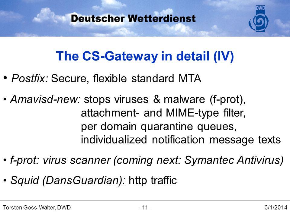 3/1/2014Torsten Goss-Walter, DWD- 11 - The CS-Gateway in detail (IV) Postfix: Secure, flexible standard MTA Amavisd-new: stops viruses & malware (f-pr