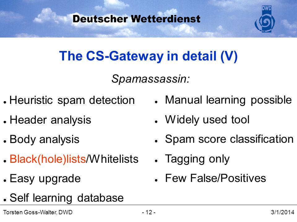 3/1/2014Torsten Goss-Walter, DWD- 12 - The CS-Gateway in detail (V) Spamassassin: Heuristic spam detection Header analysis Body analysis Black(hole)li