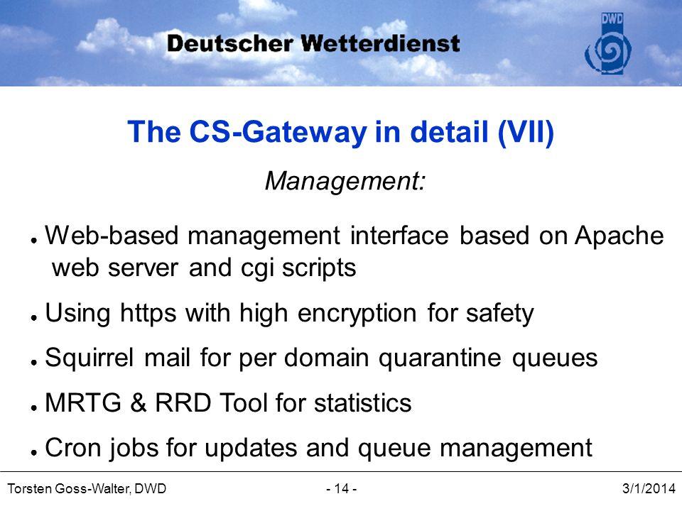 3/1/2014Torsten Goss-Walter, DWD- 14 - The CS-Gateway in detail (VII) Management: Web-based management interface based on Apache web server and cgi sc
