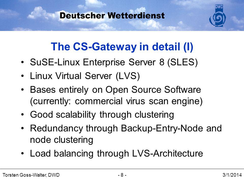 3/1/2014Torsten Goss-Walter, DWD- 8 - The CS-Gateway in detail (I) SuSE-Linux Enterprise Server 8 (SLES) Linux Virtual Server (LVS) Bases entirely on