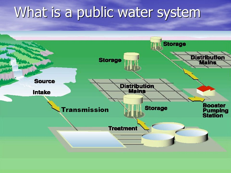 What is a public water system Types of Public Water Systems: Types of Public Water Systems: –Community - serves at least 15 service connections used by year-round residents or regularly serves at least 25 year-round residents.