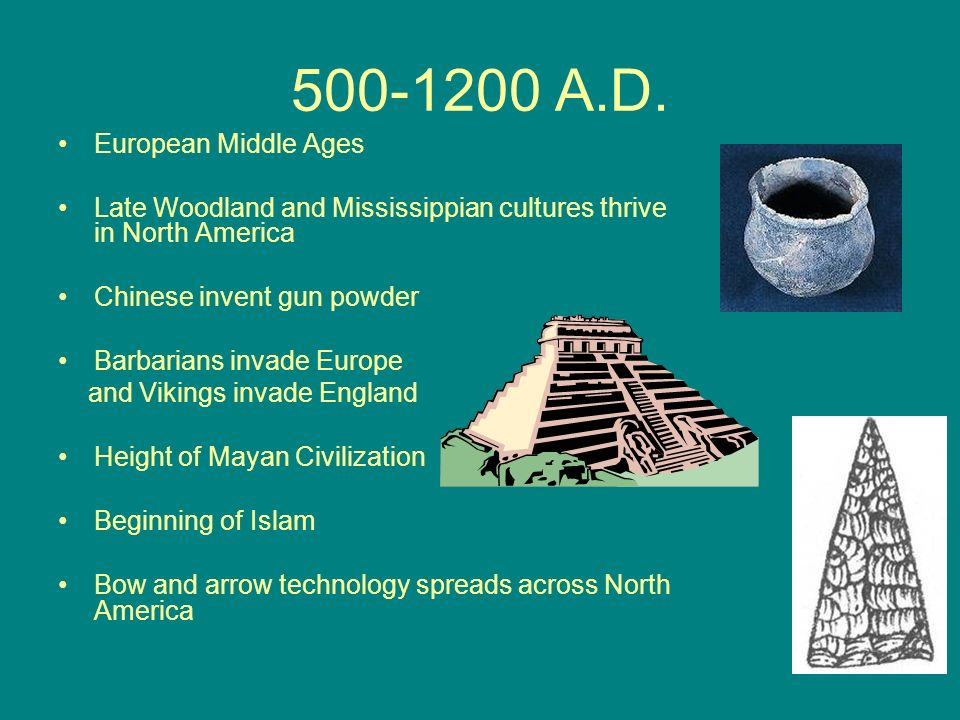 500-1200 A.D. European Middle Ages Late Woodland and Mississippian cultures thrive in North America Chinese invent gun powder Barbarians invade Europe
