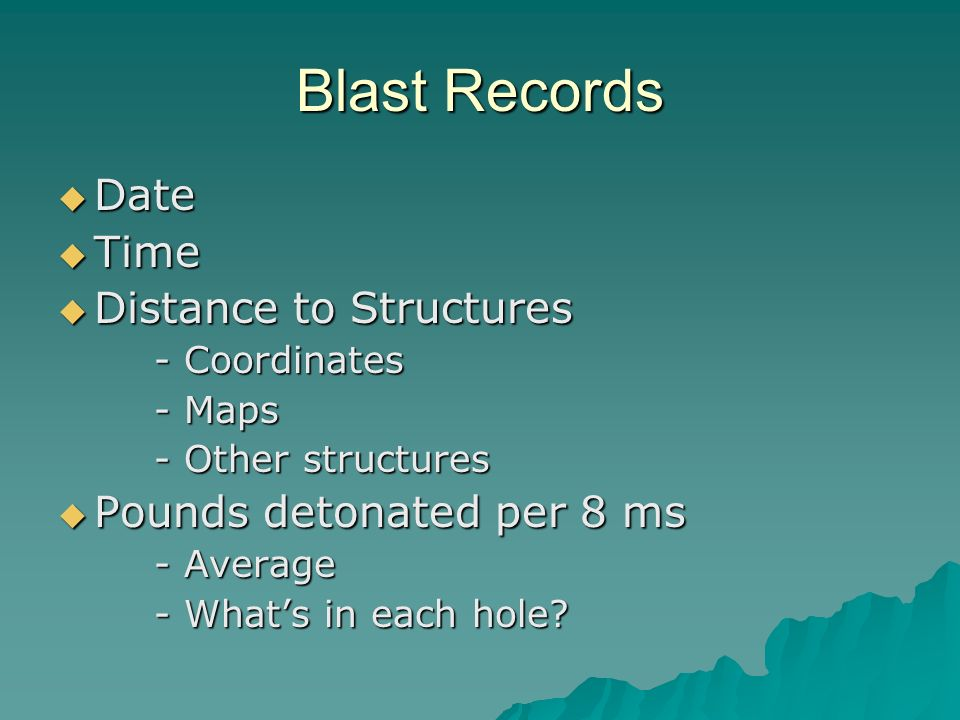 Blast Records Date Date Time Time Distance to Structures Distance to Structures - Coordinates - Maps - Other structures Pounds detonated per 8 ms Pounds detonated per 8 ms - Average - Whats in each hole?