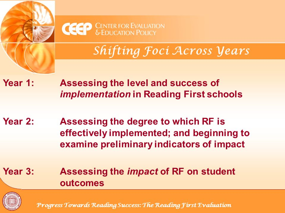 Shifting Foci Across Years Progress Towards Reading Success: The Reading First Evaluation Year 1: Assessing the level and success of implementation in Reading First schools Year 2:Assessing the degree to which RF is effectively implemented; and beginning to examine preliminary indicators of impact Year 3:Assessing the impact of RF on student outcomes