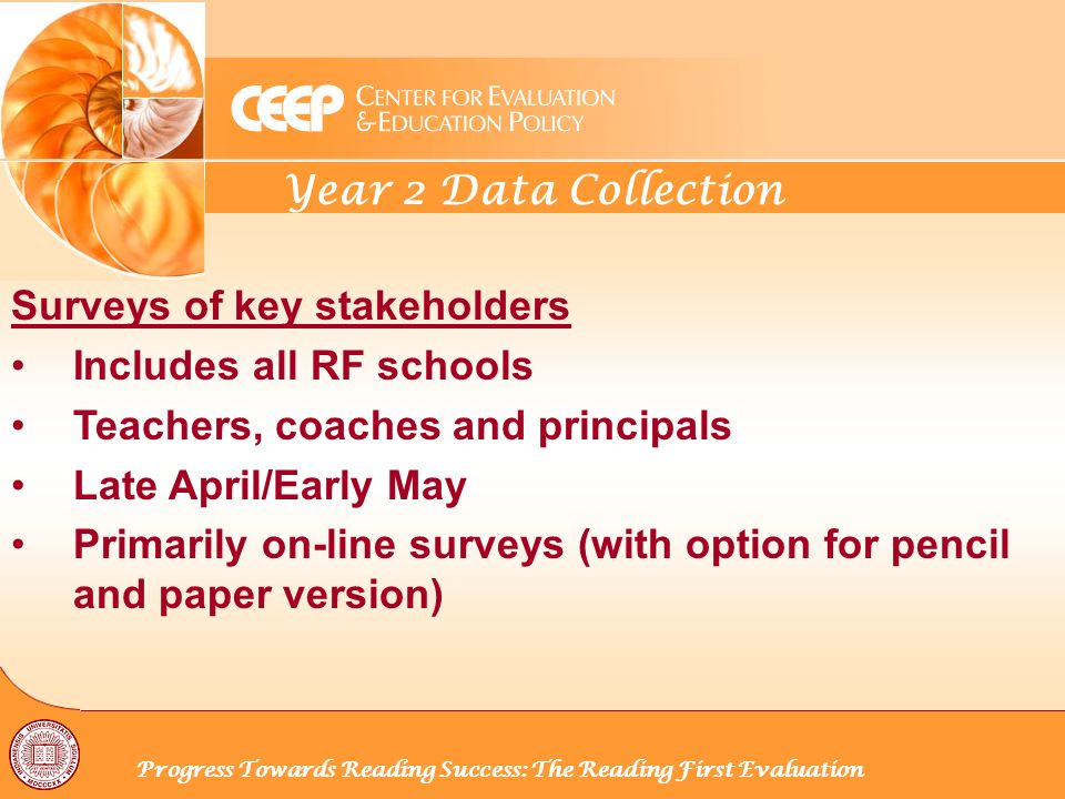 Year 2 Data Collection Progress Towards Reading Success: The Reading First Evaluation Surveys of key stakeholders Includes all RF schools Teachers, coaches and principals Late April/Early May Primarily on-line surveys (with option for pencil and paper version)
