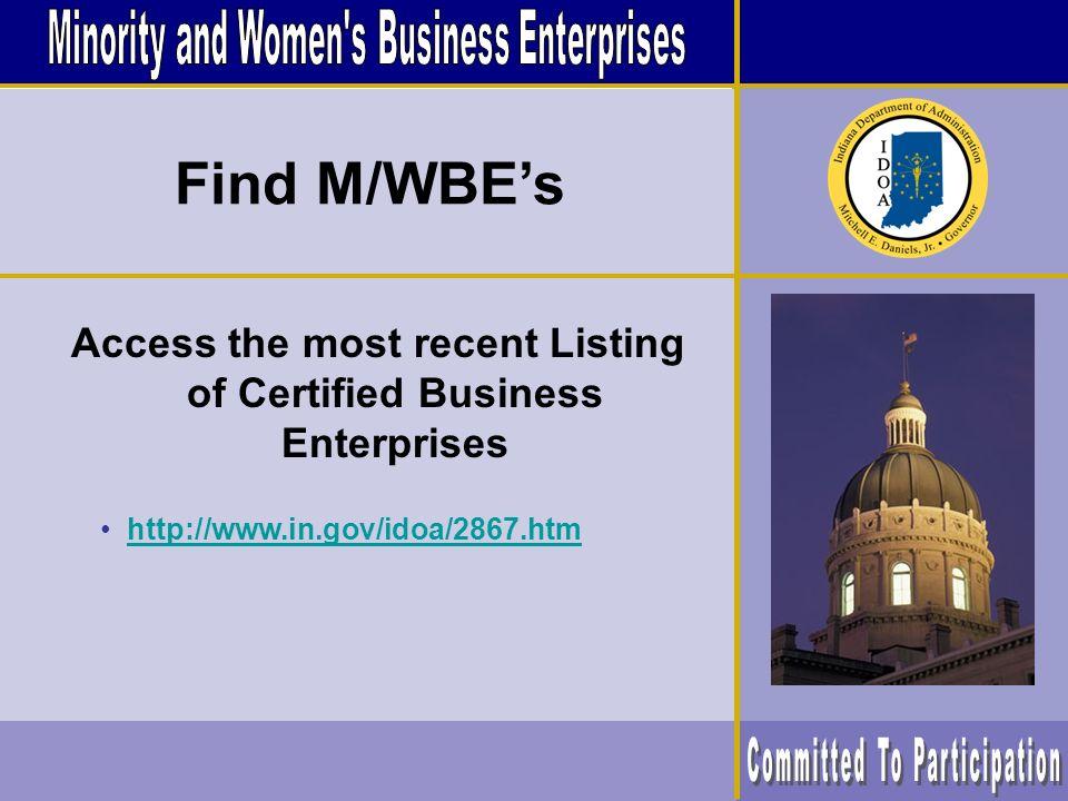 Utilizing Minority and Womens Business Enterprises