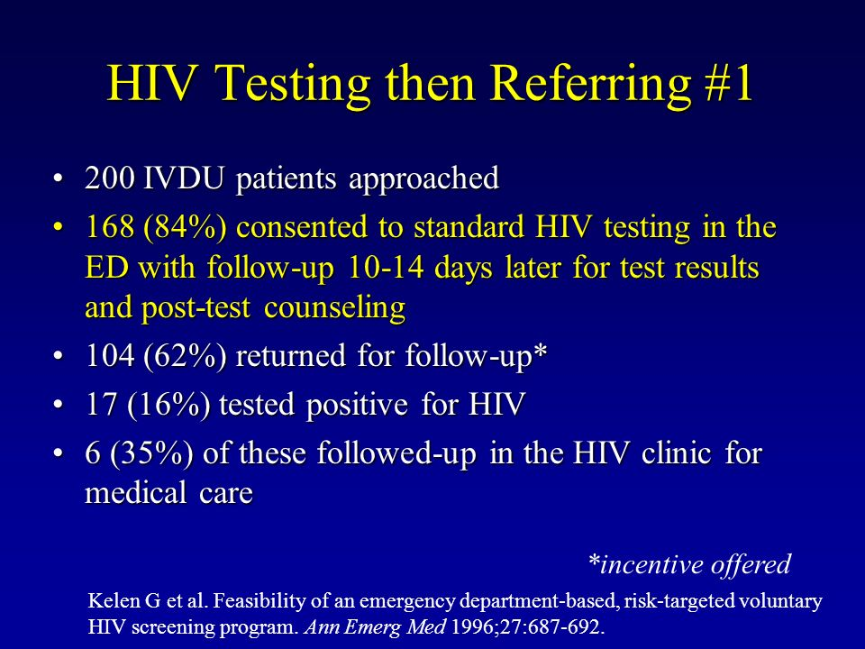 HIV Testing then Referring #1 200 IVDU patients approached200 IVDU patients approached 168 (84%) consented to standard HIV testing in the ED with foll