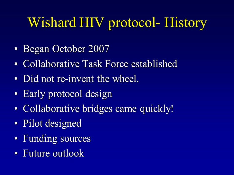 Wishard HIV protocol- History Began October 2007Began October 2007 Collaborative Task Force establishedCollaborative Task Force established Did not re-invent the wheel.Did not re-invent the wheel.