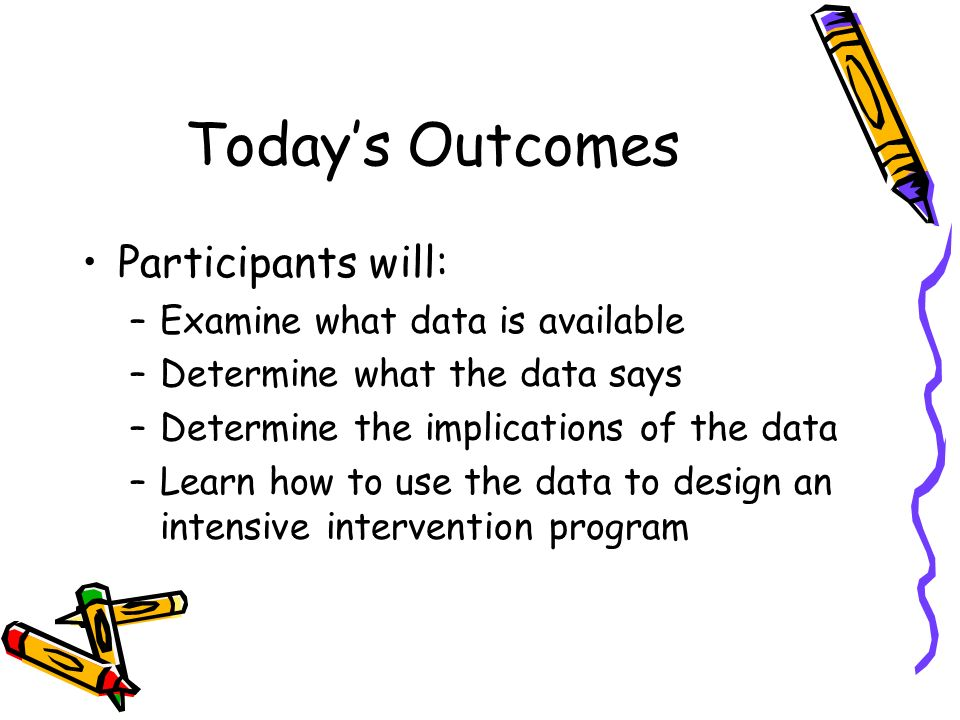 Todays Outcomes Participants will: –Examine what data is available –Determine what the data says –Determine the implications of the data –Learn how to use the data to design an intensive intervention program