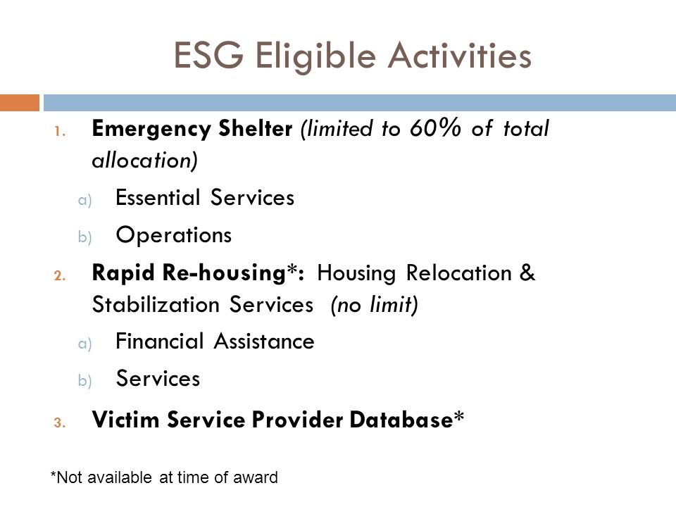 1.Emergency Shelter (limited to 60% of total allocation) a) Essential Services b) Operations 2.