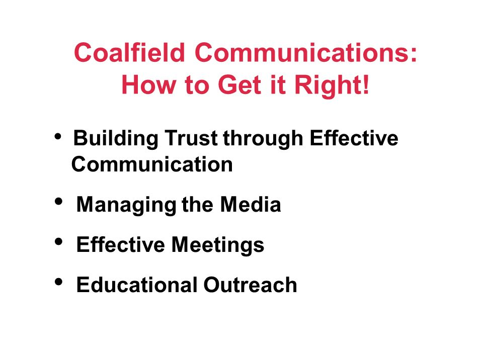 Coalfield Communications: How to Get it Right.